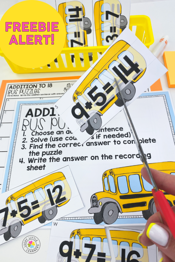 prep the printed version of the free bus puzzles math center by printing and cutting out cards