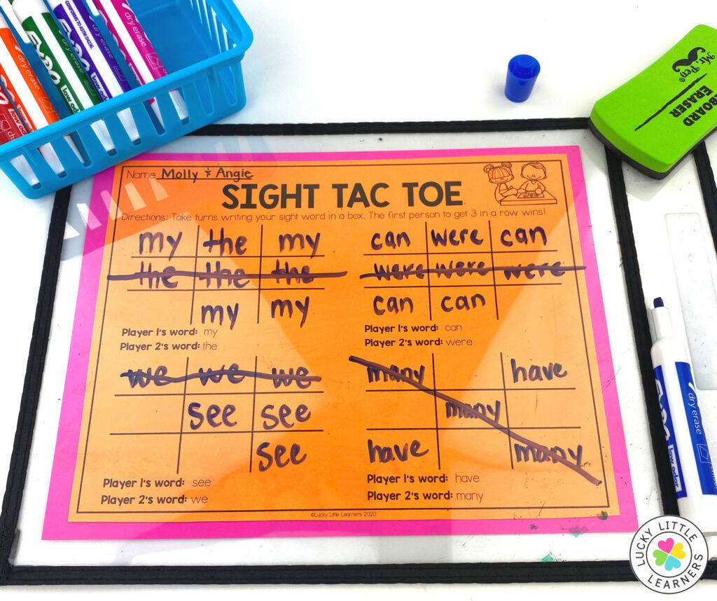 practice sight words with a partner using the free sight tac toe game