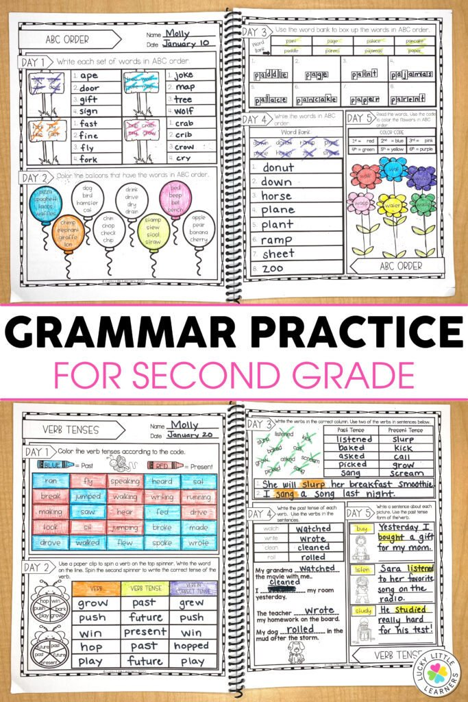 abc order and verb tense daily grammar practice sheets