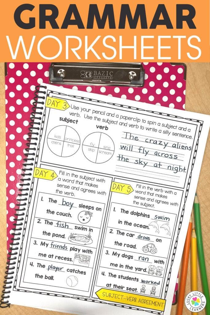 grammar worksheet with sentence activities