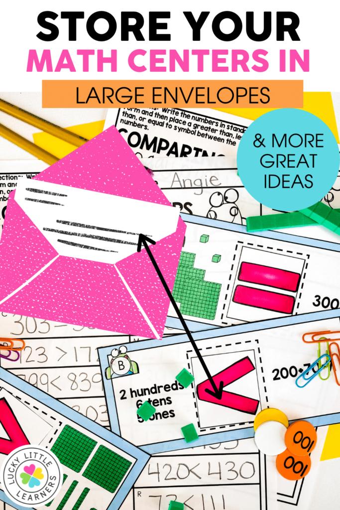 math center games stored in large envelopes