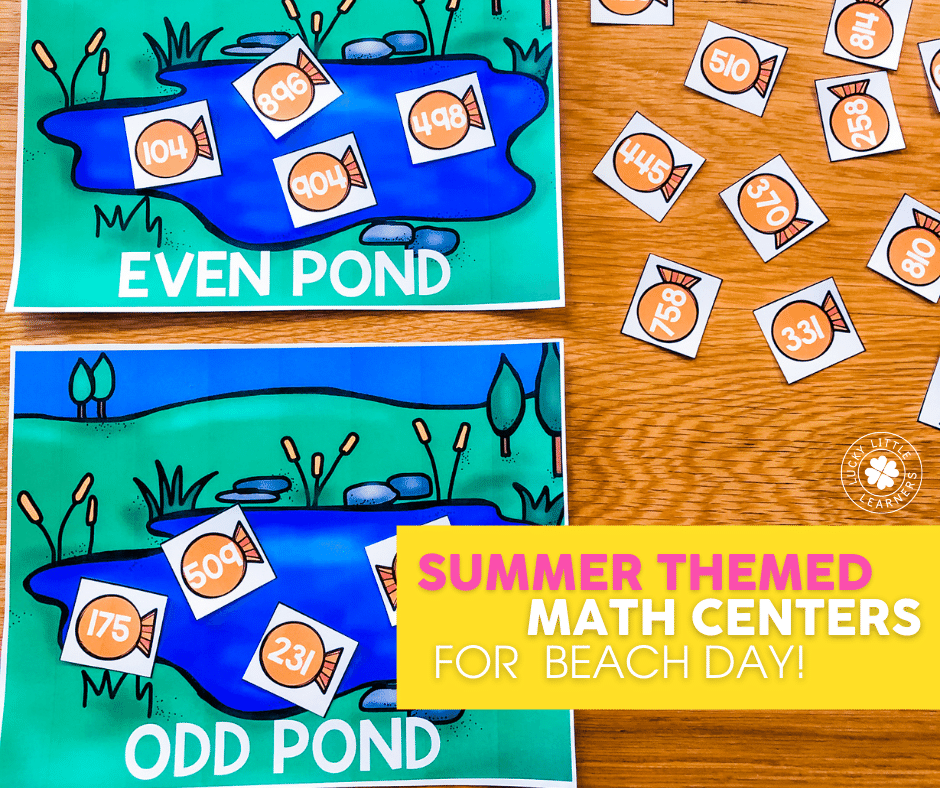 going fishing summer themed math center for 3 digit number values