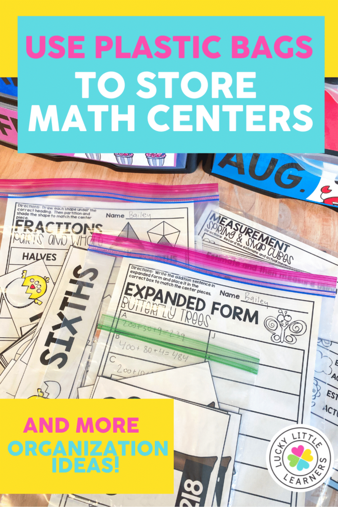 plastic bags for easy storage of math centers