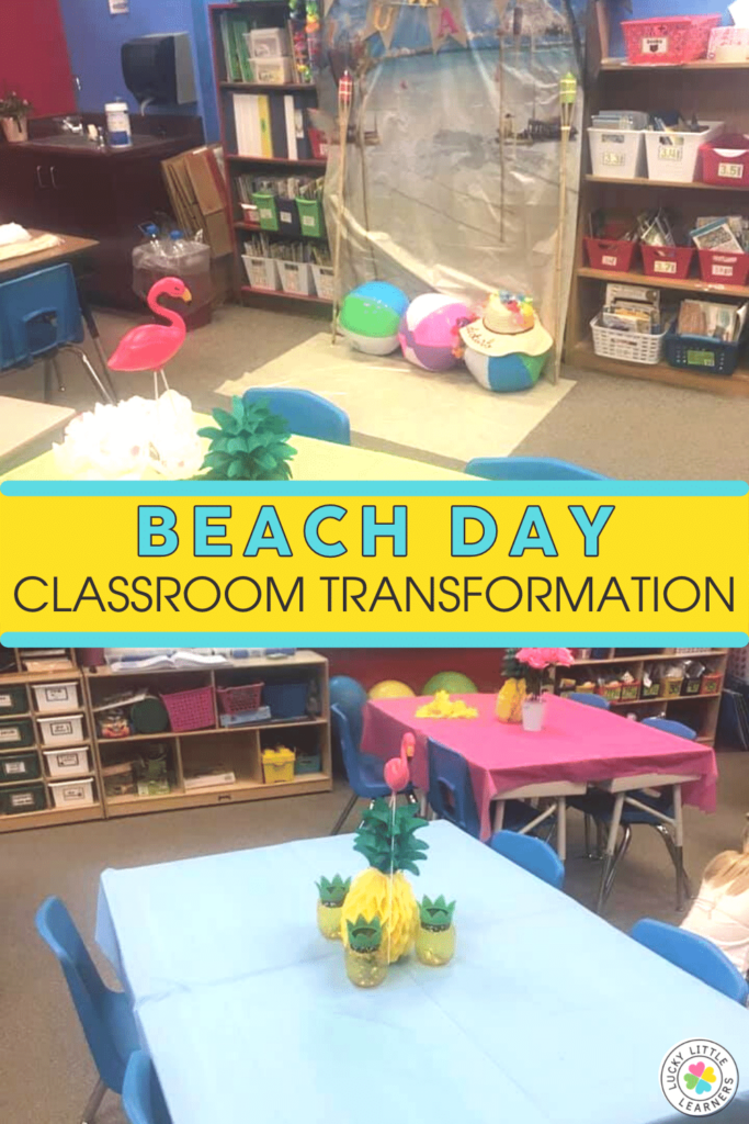 decor for a beach day in the classroom