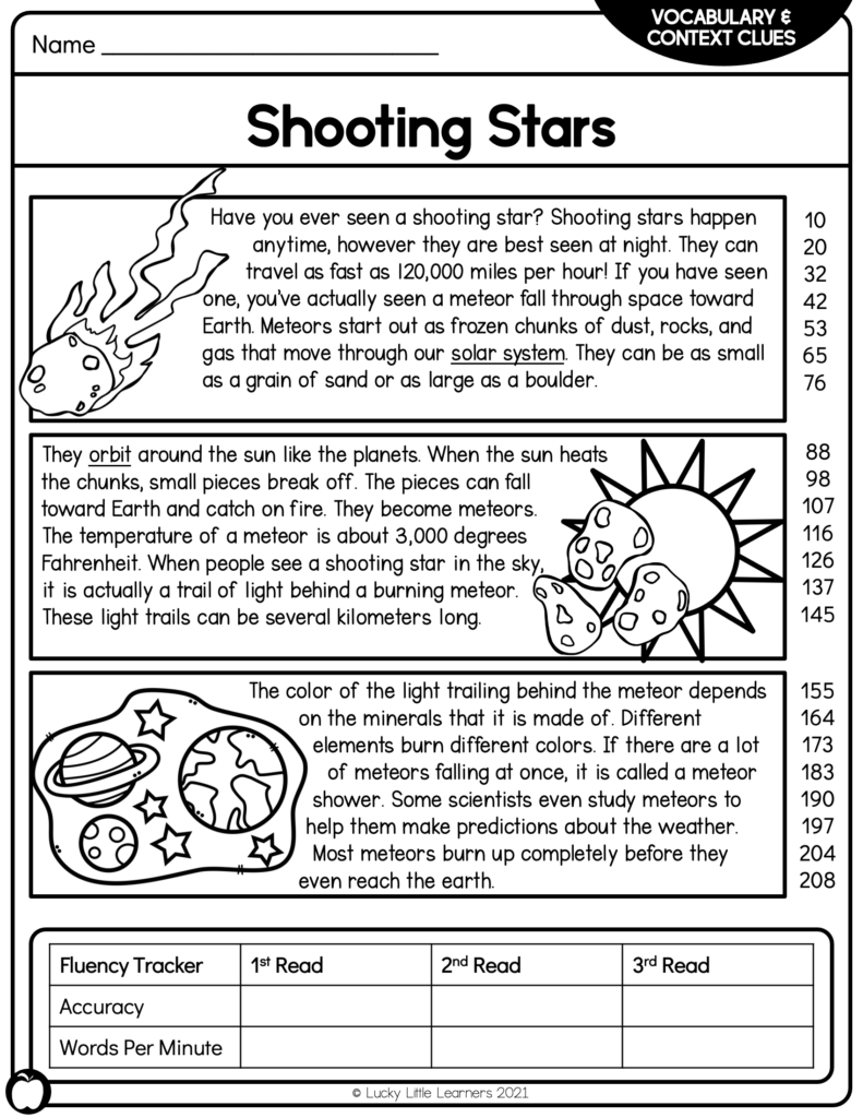shooting stars sample 2nd grade reading passage