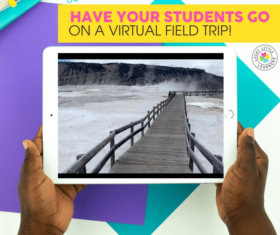 virtual field trip to Yellowstone using a classroom iPad