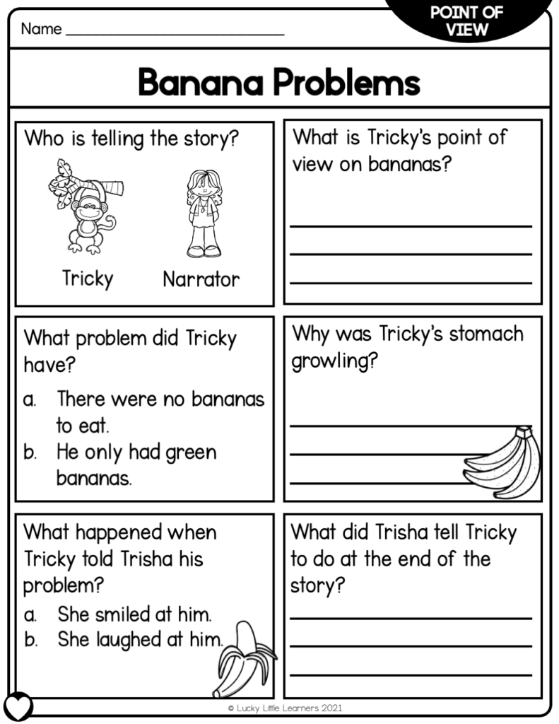 Text dependent comprehension questions are included on the back of each reading passage in the Lucky Little Learners 2nd grade reading passage sets.