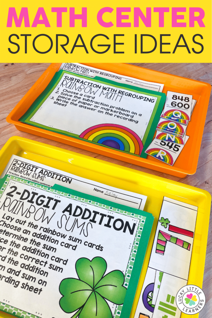 math center storage with tubs envelopes and file folders
