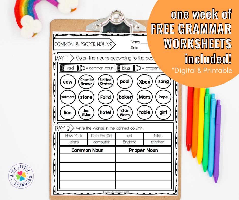 free week of grammar worksheets
