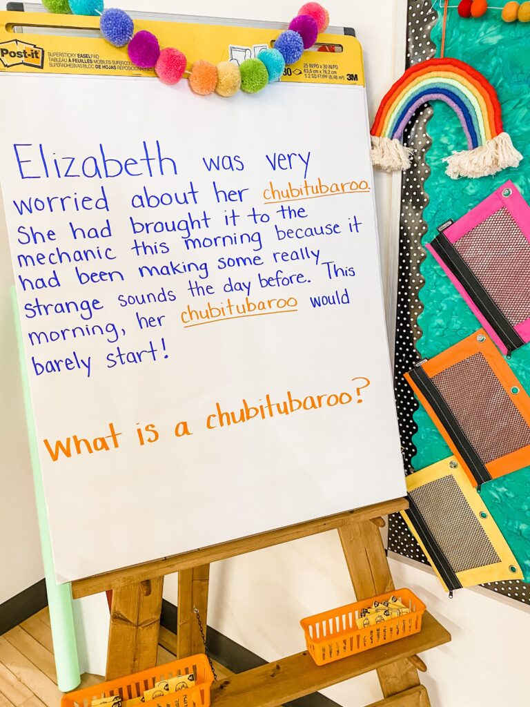 anchor chart with silly words paragraph to teach context clues