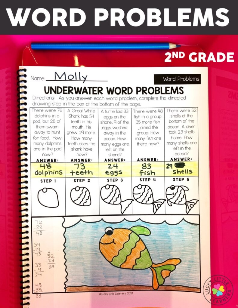 Word problems are always tricky and getting your students to review them can be tough! With our fun underwater word problems, your students solve the problem all while completing a directed drawing. Your students will have so much fun they'll feel like something fishy is going on!