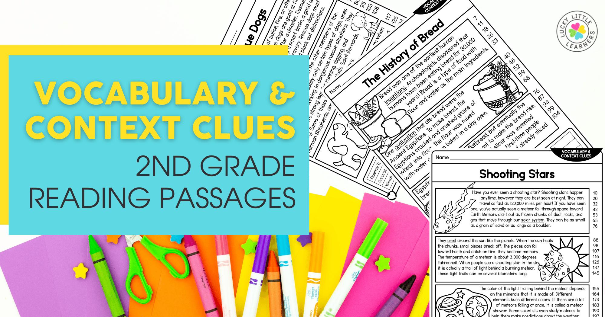 Vocabulary & Context Clues Second Grade Reading Passages
