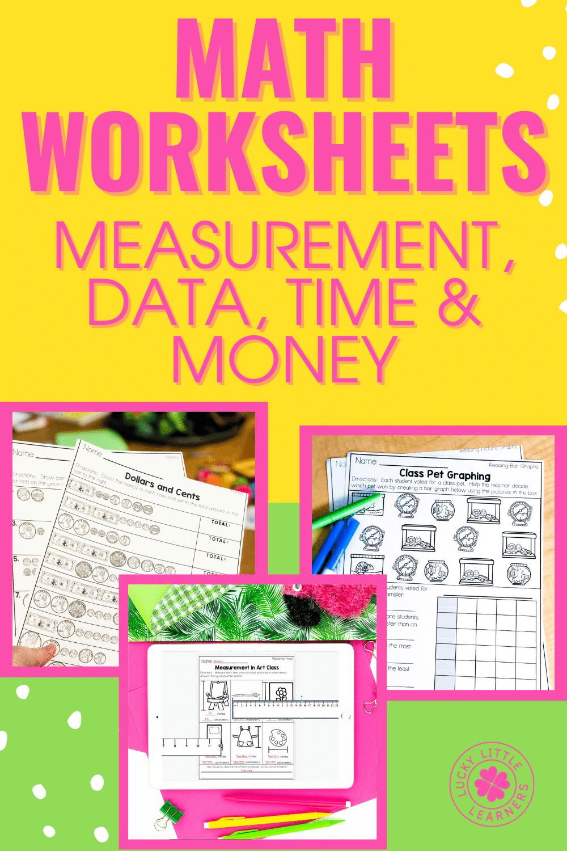 measurement money time data worksheets