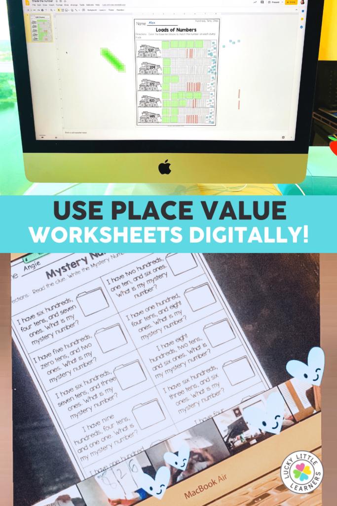 digital place value worksheets