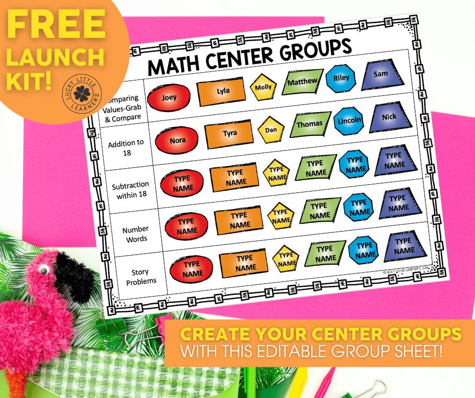 free editable math center group sheet