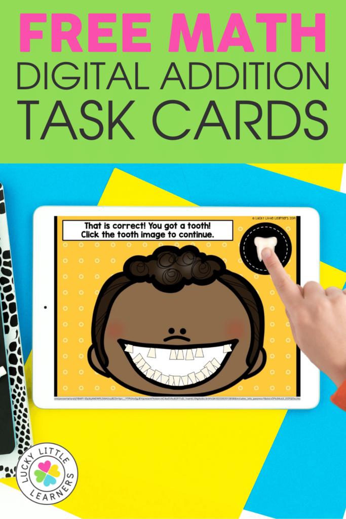 free math digital addition task cards