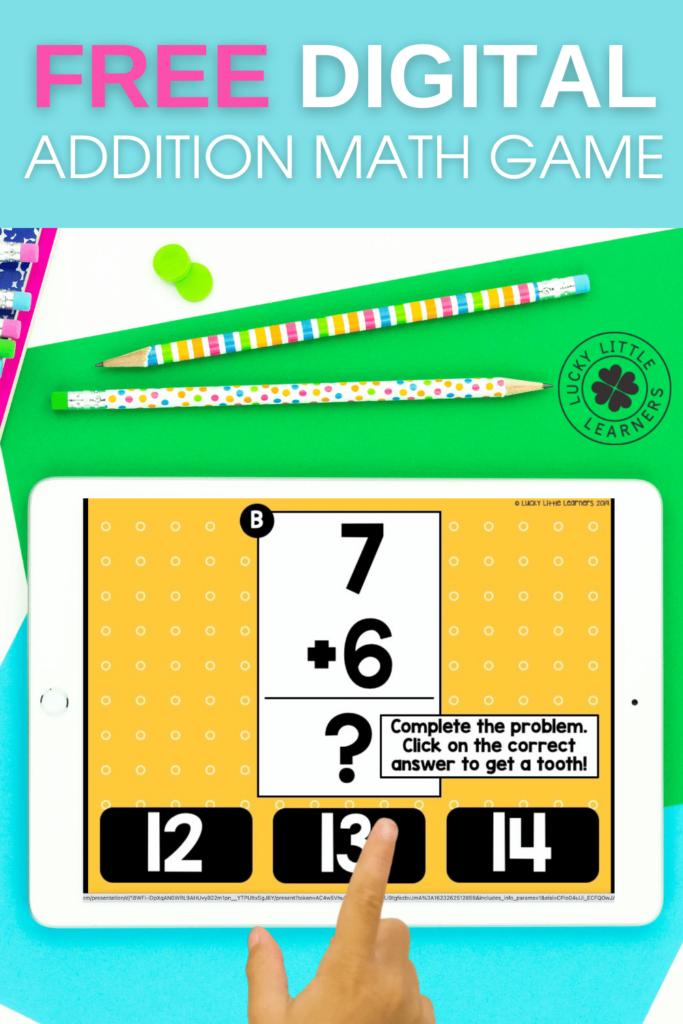 free digital addition math game