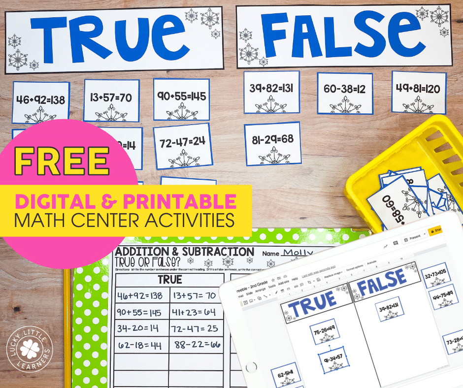 true or false 2 digit addition and subtraction math center activity