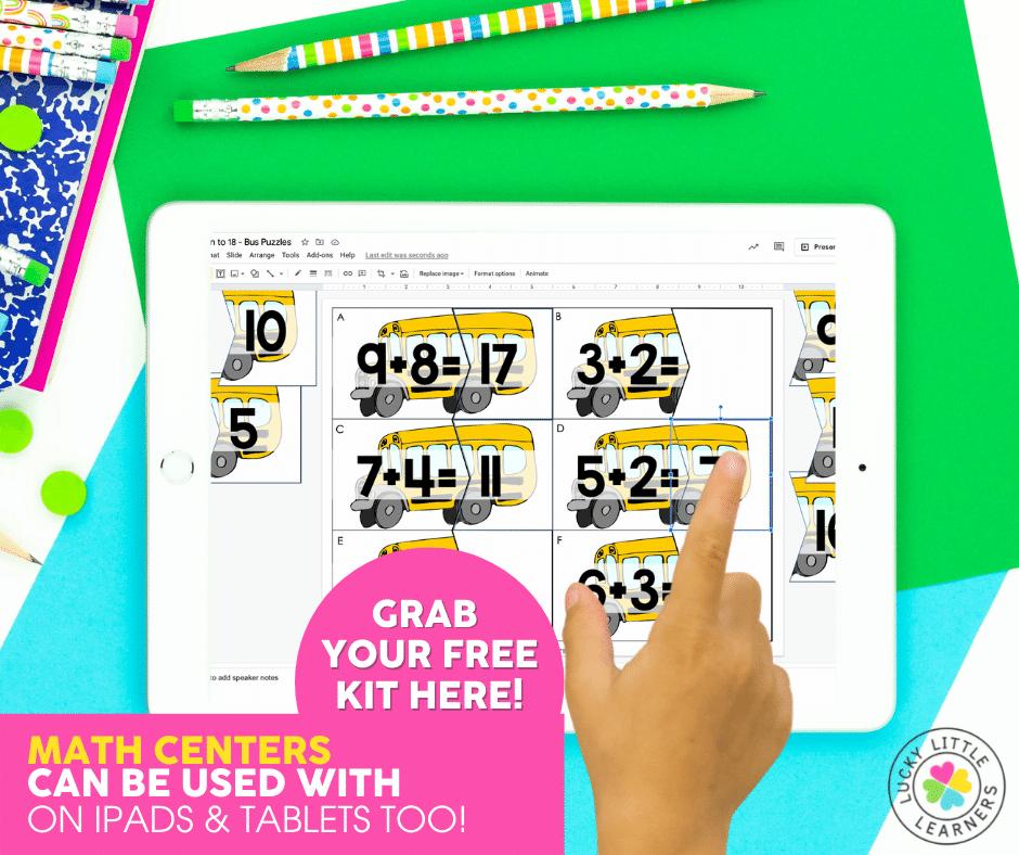 digital bus puzzles math center displayed on an iPad