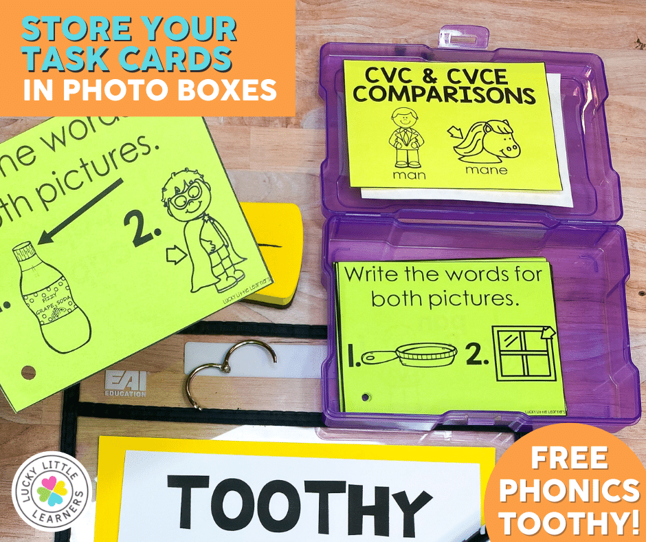 Phonics Toothy task cards stored in plastic school boxes
