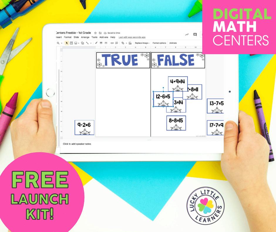 true or false 2-digit addition math center displayed on an iPad