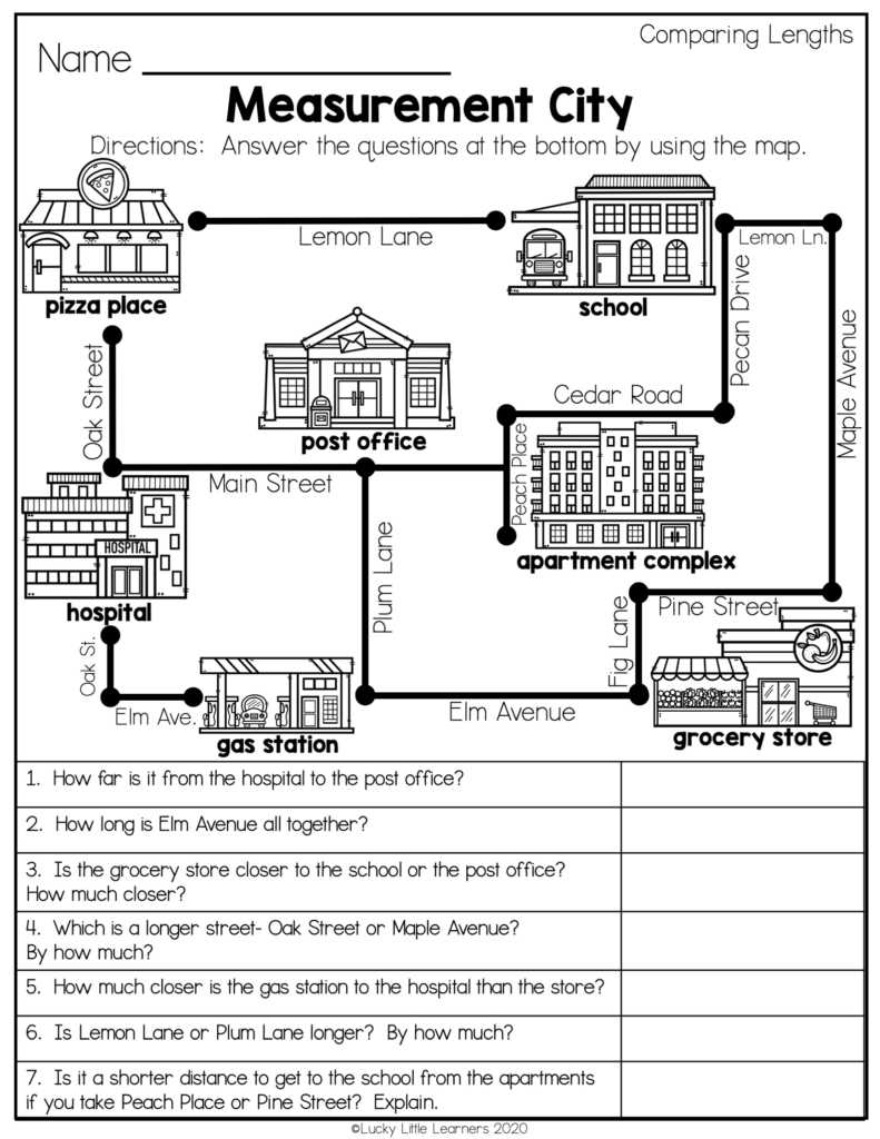 measurement city themed worksheet for comparing lengths