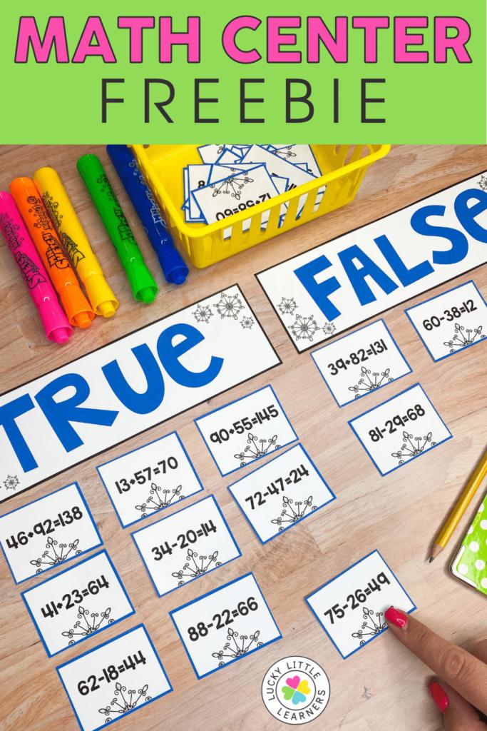 32 number sentence cards to sort into true or false categories