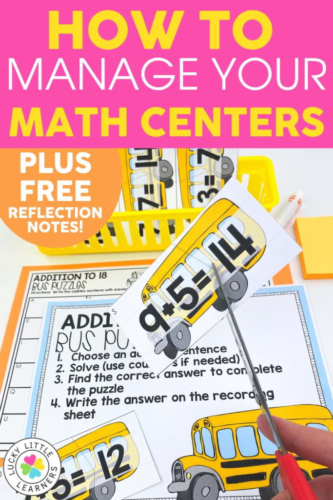 managing math center materials