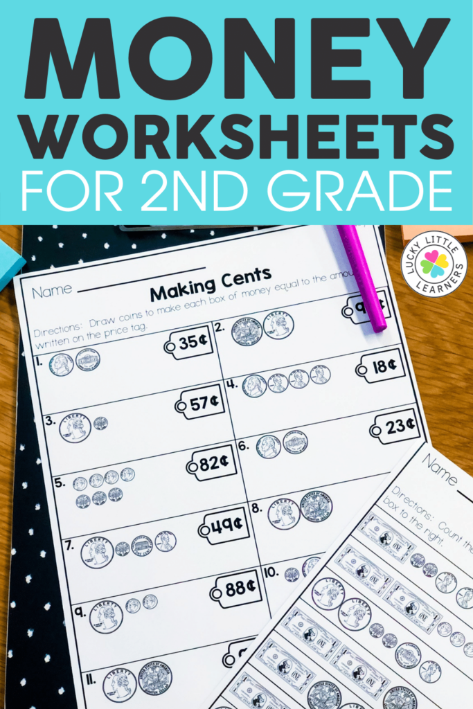 second grade math worksheet counting coins