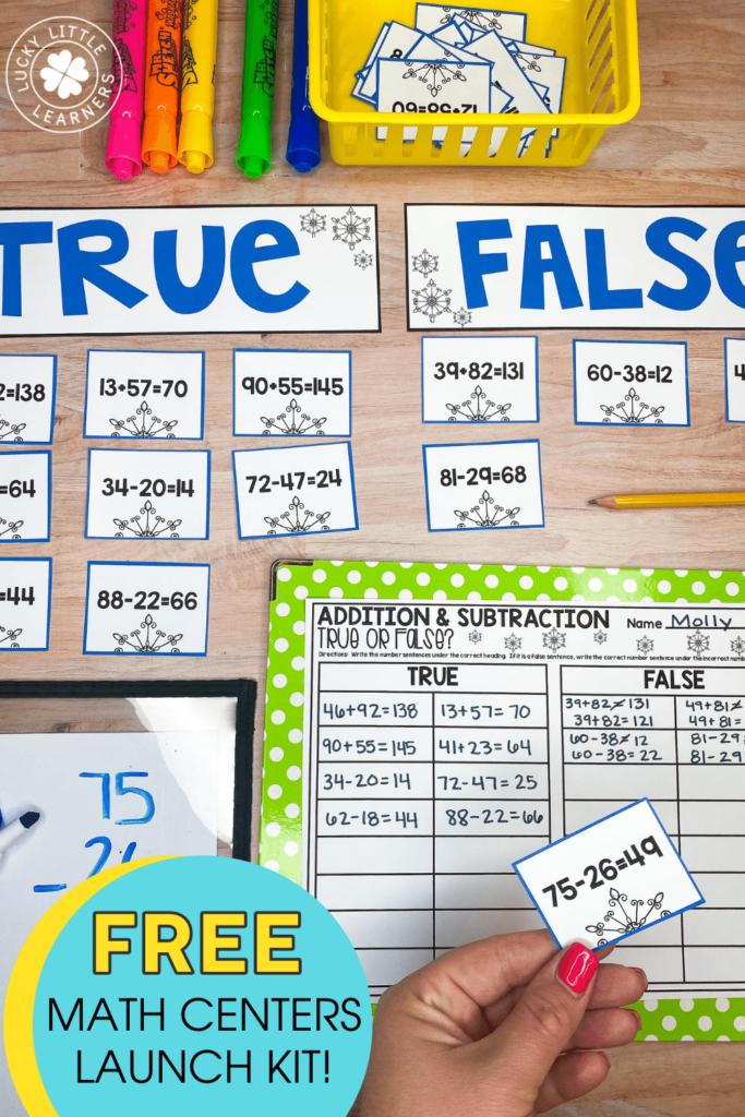 sort 2 digit addition and subtraction number sentences in true or false categories