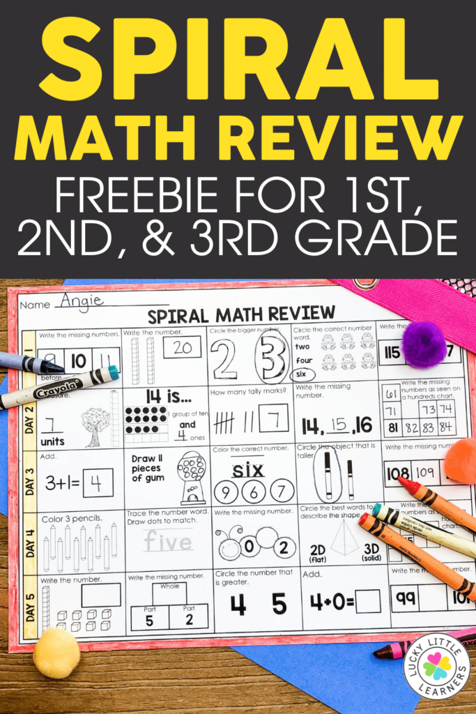Spiral math review freebie for 1st 2nd and 3rd grades