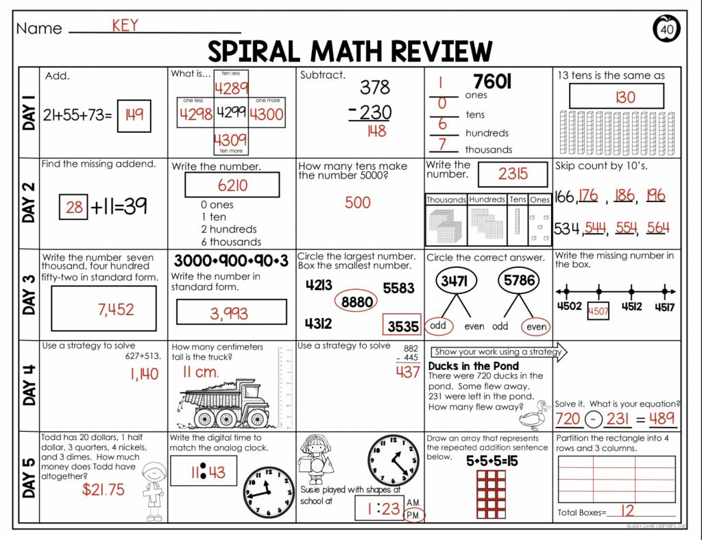 spiral math answer key