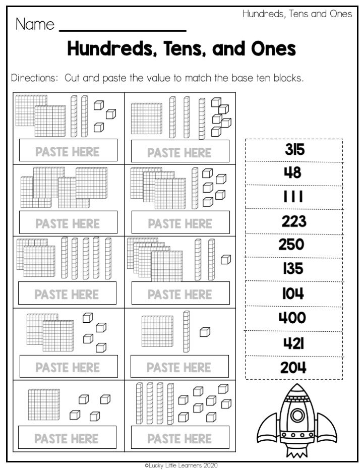 hundreds tens ones place value worksheet