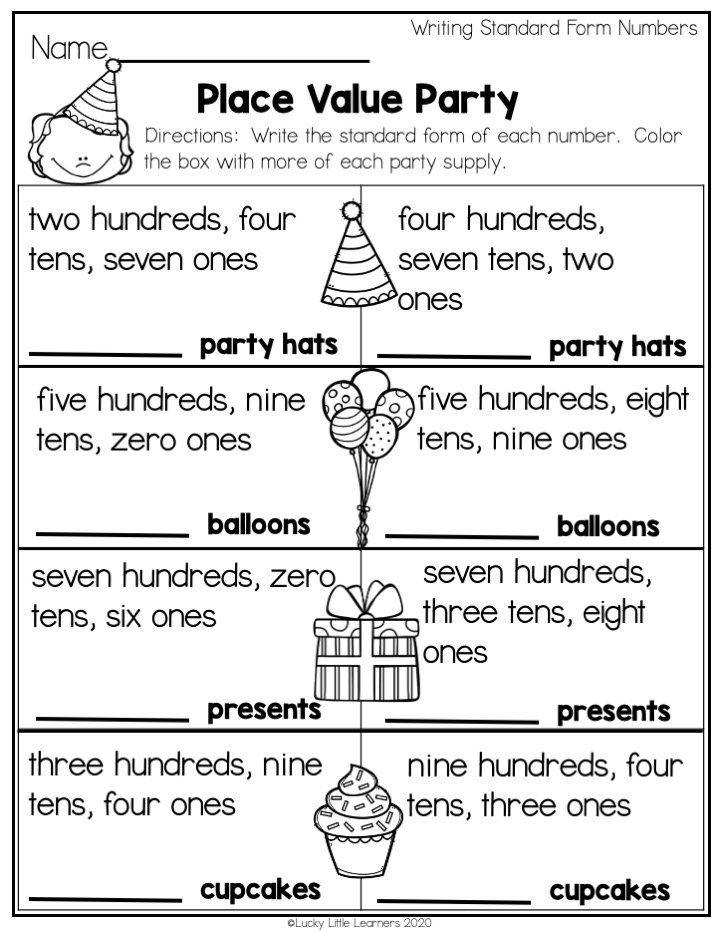 place value party worksheet to practice writing standard form numbers