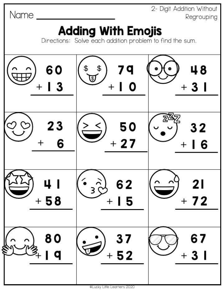 adding with emojis place value practice