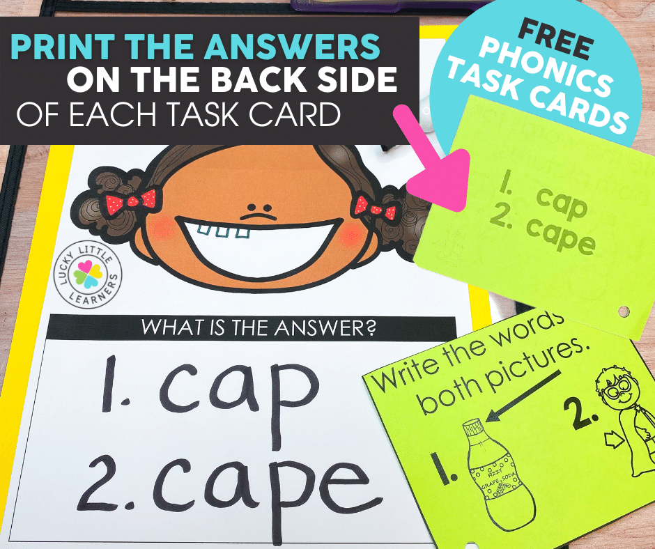 answers printed on back side of phonics task card