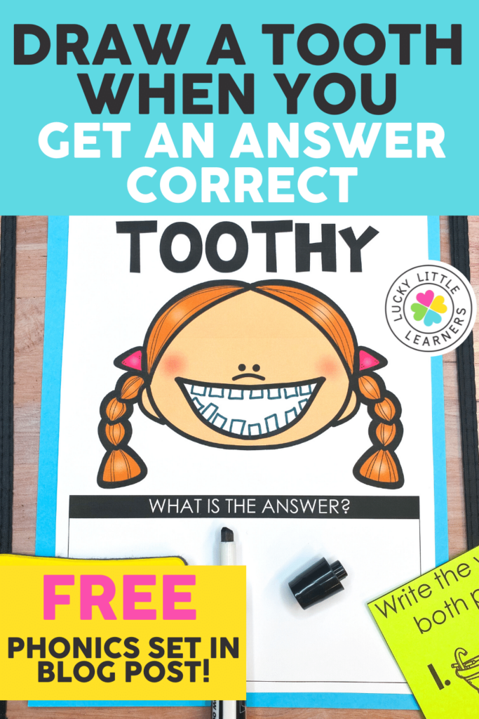 toothy character with teeth drawn for correct answers