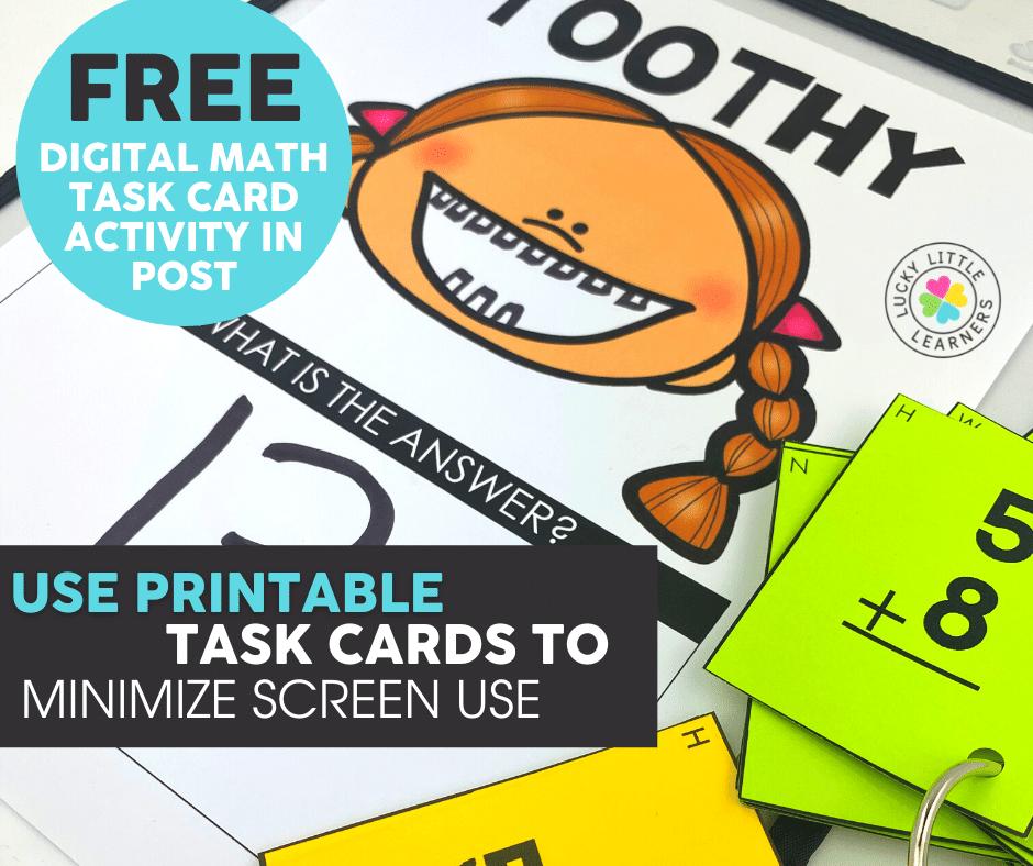 free digital math task card activity