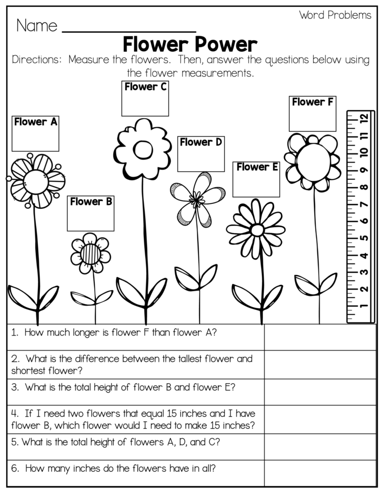 word problems and measurement second grade math worksheet