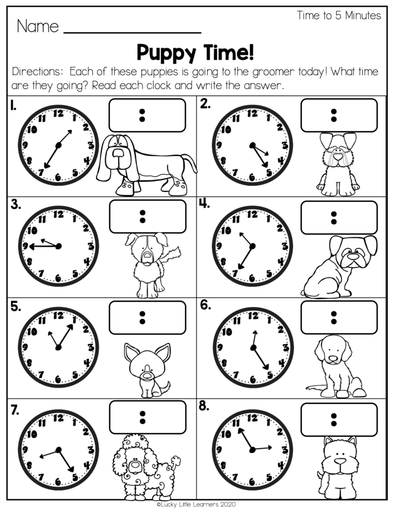 time to 5 minutes worksheet for 2nd grade
