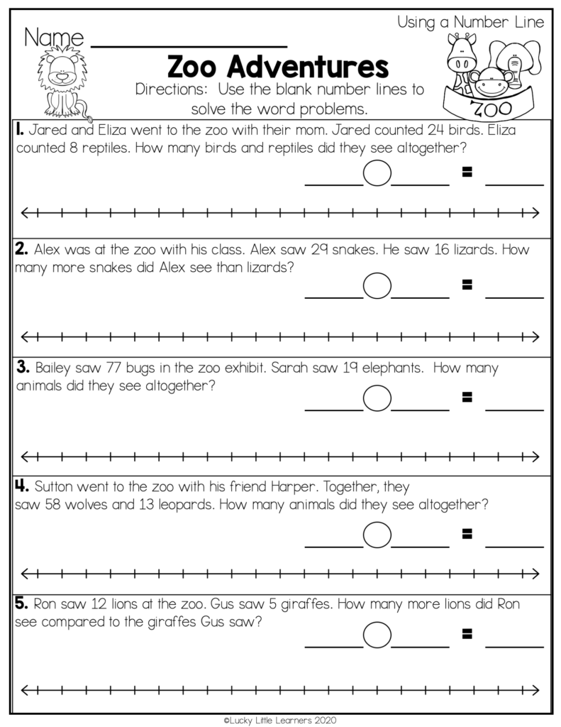 zoo adventures themed number line worksheet