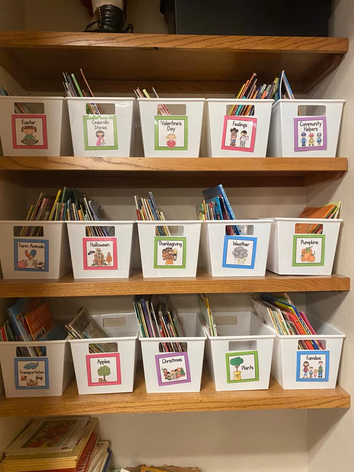 classroom library organized by themes
