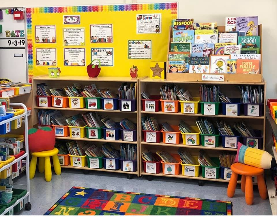 2nd grade classroom library organized by themes and seasonal surprises