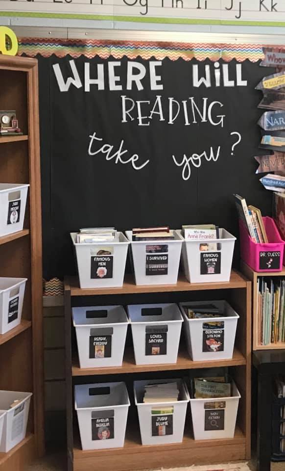 2nd grade classroom library organized by series