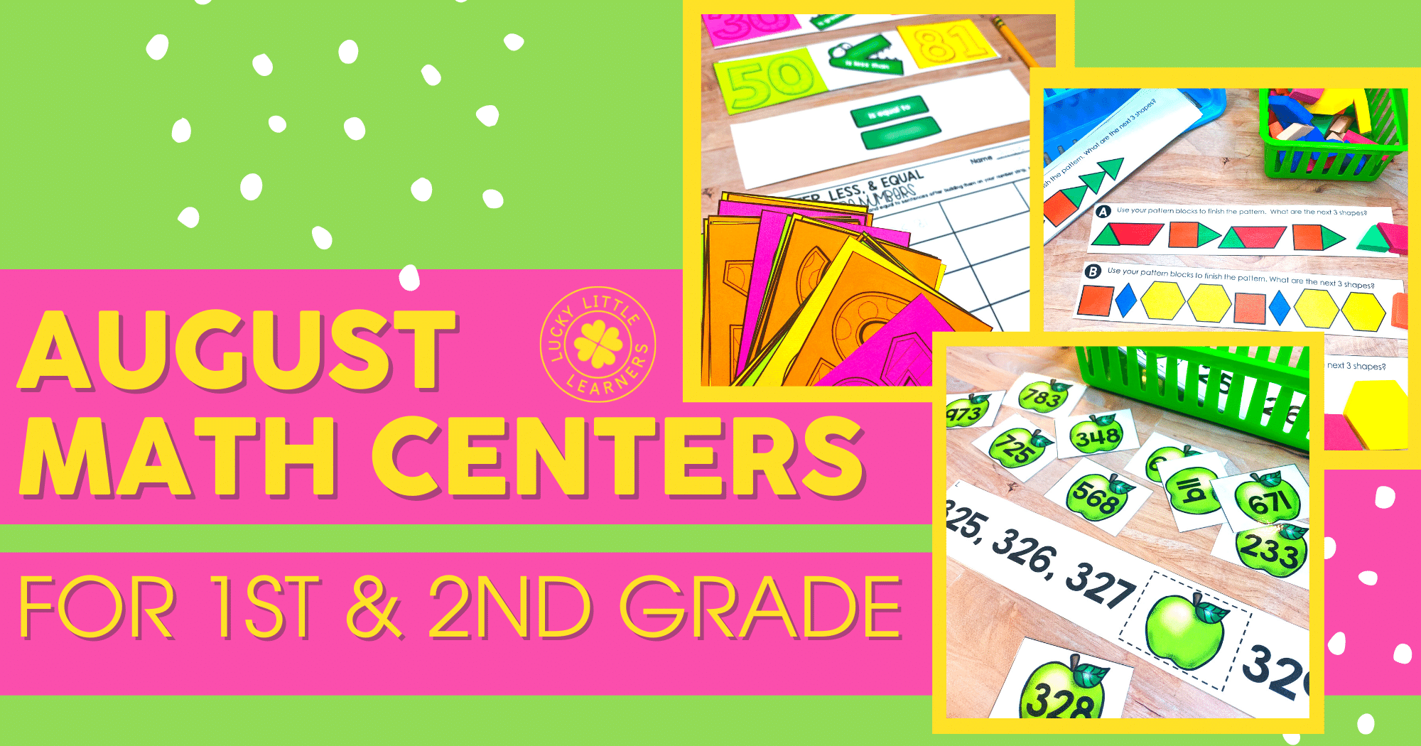 August Math Centers for first and second grade