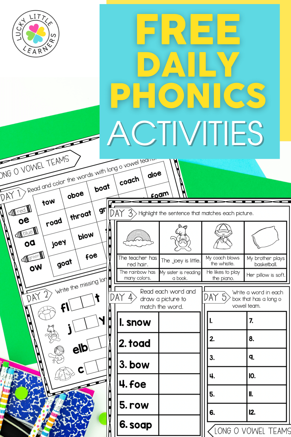free daily phonics activities for a full week