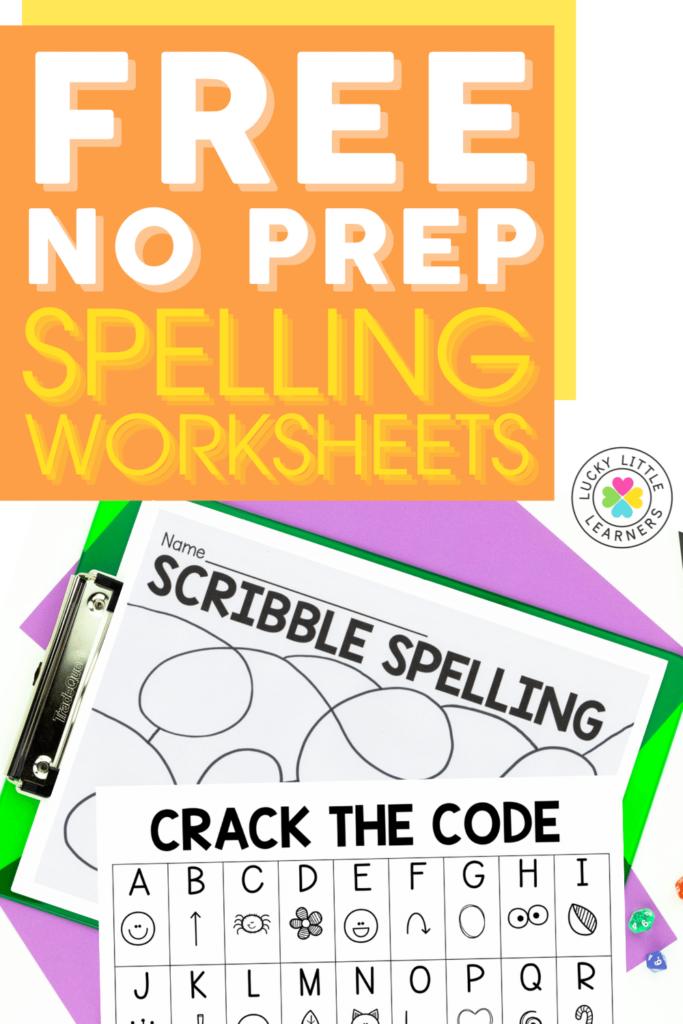 free no prep spelling worksheets