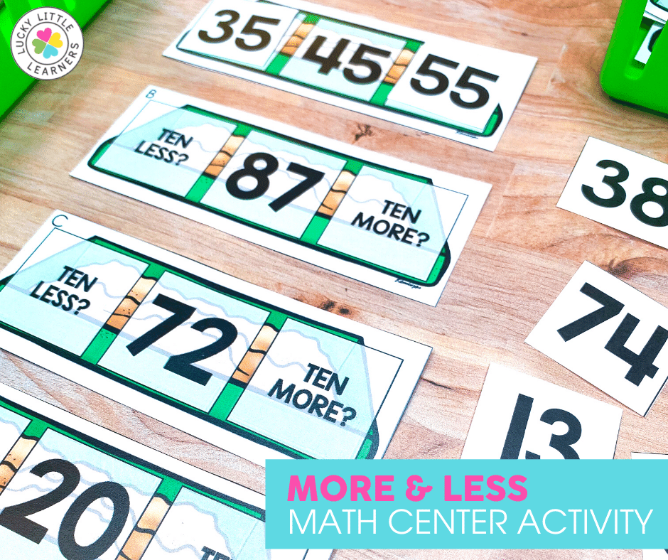 more and less math center activity by Lucky Little Learners