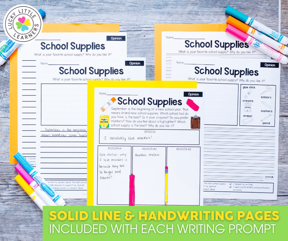 solid and handwriting pages to differentiate writing