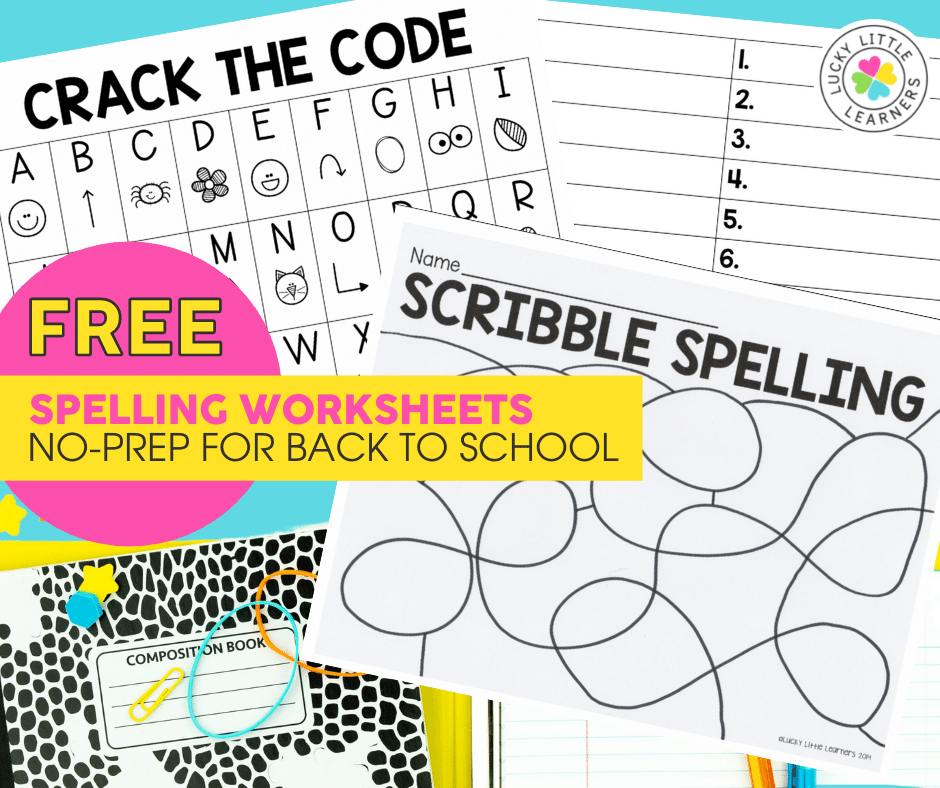 two free worksheets for practicing spelling words in the classroom